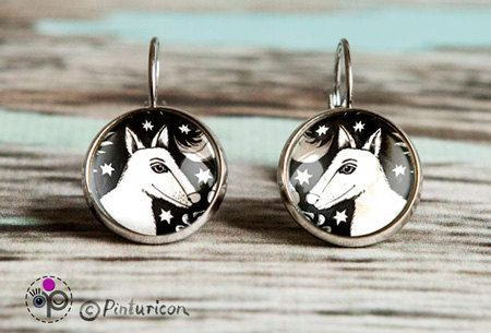 Glass cabochon Earring Dog Earrings Dangle Earrings Dog Jewelry Dogs Jewellry Black and white by Pinturicon on Etsy