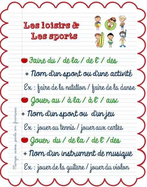 Mange, aime, parle en français.: Faire de / Jouer à / Jouer de