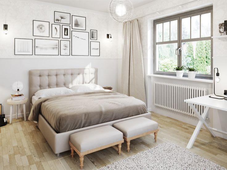 Rustykalna sypialnia w beżowych i szarych odcieniach