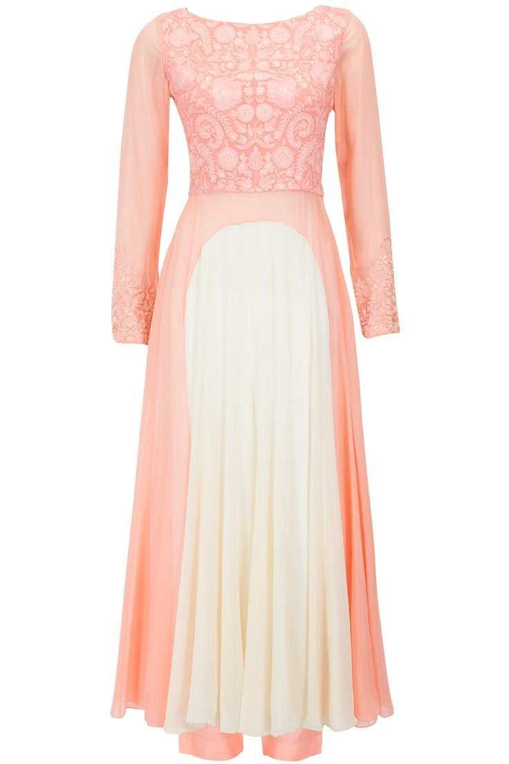 Peach and nude resham work kurta set available only at Pernia's Pop-Up Shop.