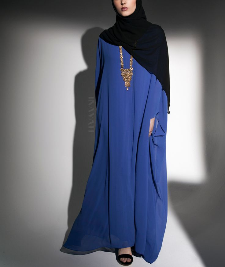INAYAH | Vibrant hues for cultural evenings | - Blue #Batwing #Kaftan + #Black Maxi Georgette #Hijab - www.inayah.co