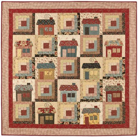 house blocks with log cabin blocks   cabins cottages cabin quilt 48 x 48 cottage quilt 55 x 55 two looks ...