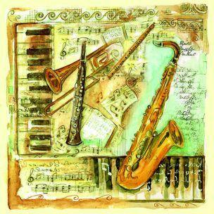 Musical hudba, klavír, klávesy, saxofón, servítka