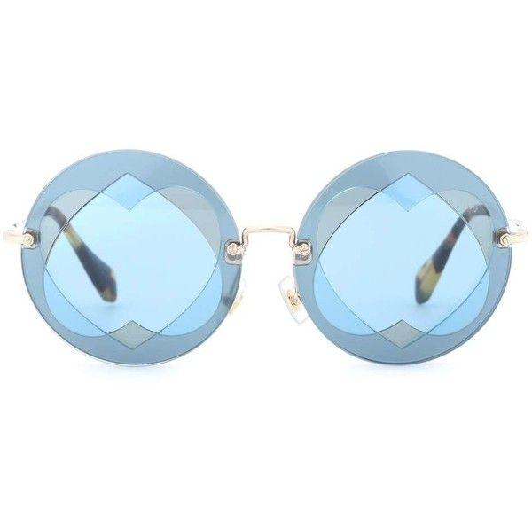 Miu Miu Round Sunglasses ($320) ❤ liked on Polyvore featuring accessories, eyewear, sunglasses, blue, miu miu sunglasses, round frame glasses, blue round sunglasses, miu miu and miu miu glasses