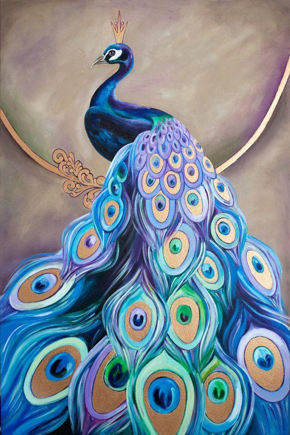 Peacock acrylic paintings - photo#35