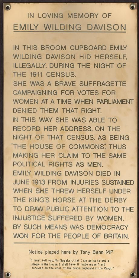 Emily Davidson was a suffragette who is best known for throwing herself underneath the King's horse at Epsom. This is the plaque in commemoration for another act of protest, for which she was incarcerated at Winson Green, Birmingham, and force-fed when she and other suffragette inmates went on hunger strike. <:((((><(