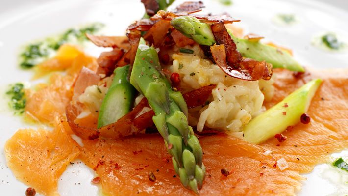 Risotto med spekeskinke, røkelaks og asparges - MatPrat