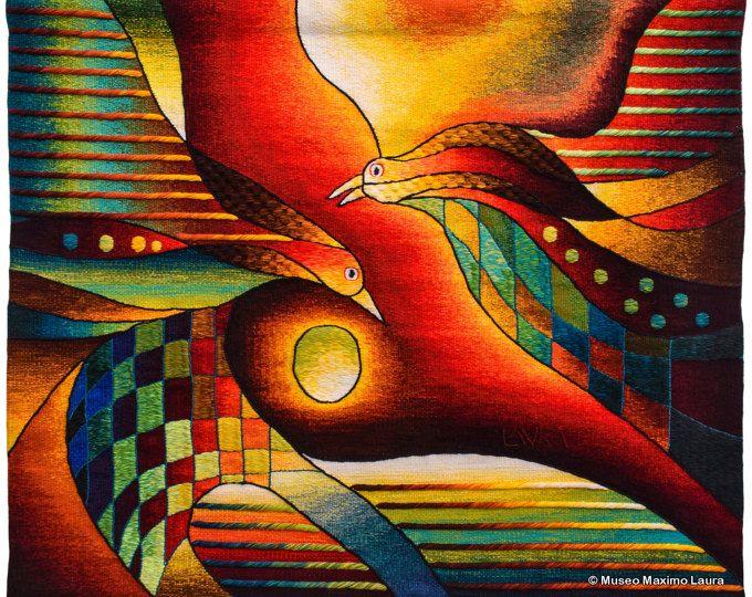 Reunión al atardecer, la mano tapiz tejido por Maximo Laura Horizontal tejido colgante de pared, arte de la tapicería contemporánea, tapices telar, Alpaca Perú