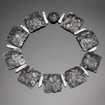 Nancy Megan Corwin: Ground Cover, Neckpiece in sterling silver and baroque pearls. 18.5 inches in length.