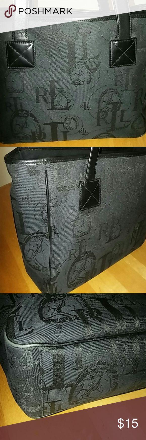 Ralph Lauren Tote Authentic Ralph Lauren Tote,  Canvas and Leather straps. Lauren Ralph Lauren Bags Totes