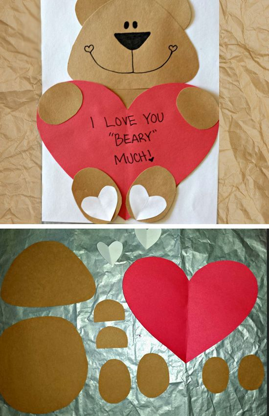 I Love You Beary Much | Click Pic for 29 DIY Valentines Day Crafts for Kids to Make | Easy Valentine Crafts for Toddlers to Make