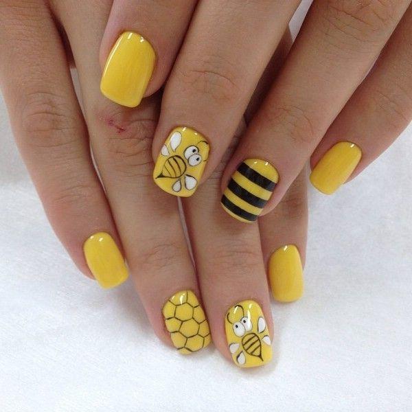 playful yellow nail art ideas bees pattern