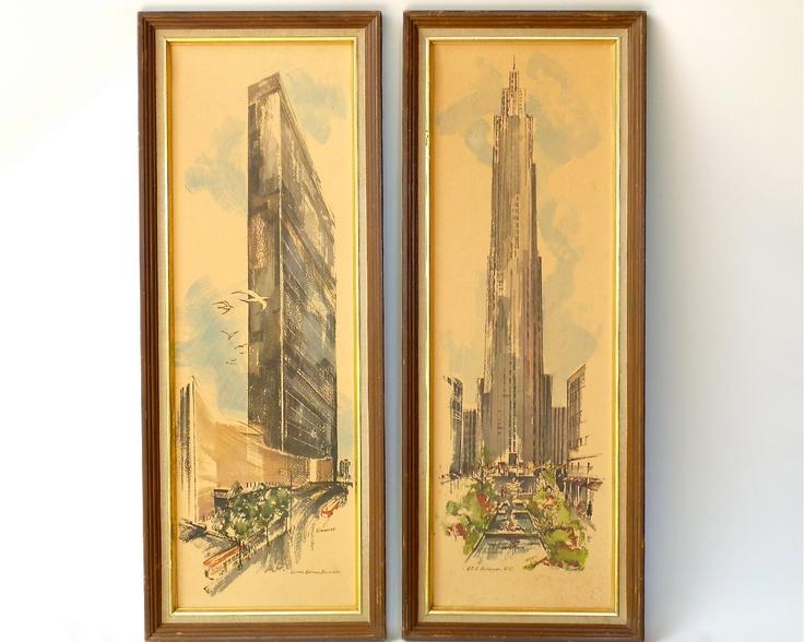 Mid Century Modern New York Art Print Pair by ModLoungeVintage | Mid ...