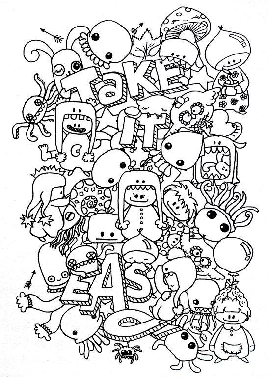 "Foto: new doodle!!!! ""take it easy"" surf & turf ;-) #art #doodle #cutie"
