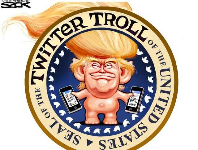 Hahahahahaha Sack cartoon: Trump the tweeter