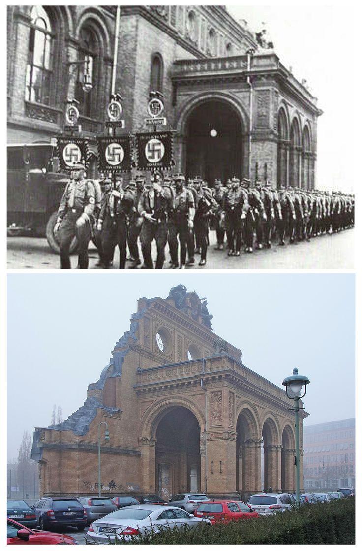 Kreuzberg, Berlin 1939/2017; Anhalter Bahnhof then and now. Picture taken from Stresemannstraße.