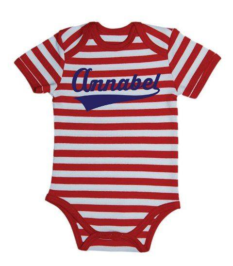 Looking for a personal baby gift? At ChillFish Design we we sell custom made ecolicious baby T-Shirts and bodysuits with the baby's name. This is our Champ bodysuit design, available at chillfishdesign.com.