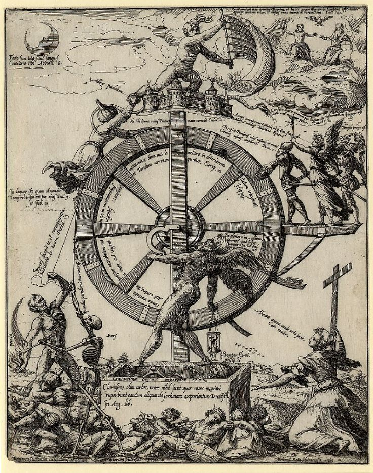 Martin Rota  Naked winged figure of Time in the centre turning the wheel of fortune upon which rides a Turk, in lower right is a female personifiation of Religion and at left Death holds a sickle, below are many dead Turkish and European soldiers. 1572