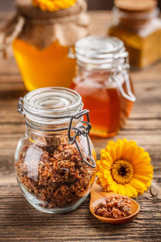 raw propolis and honey