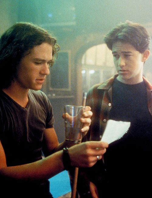Heath Ledger and Joseph Gordon-Levitt in 10 Things I Hate About You, 1999.