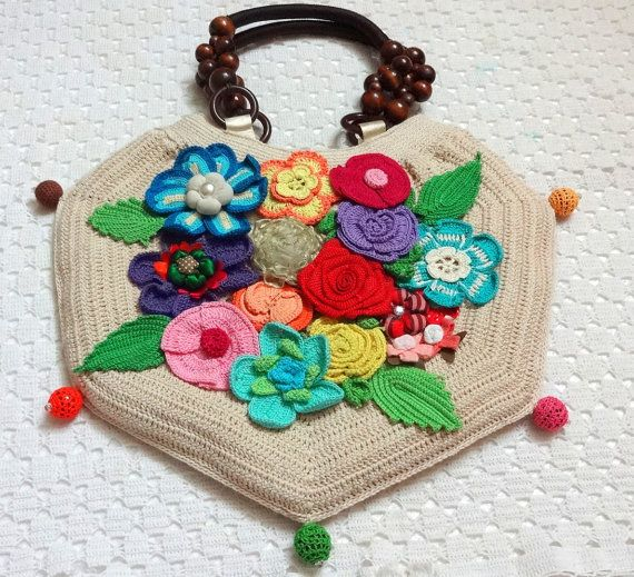 Floral Crochet Handbag Hex - Ivory Base & Multicolor Flowers - Floral Design 1