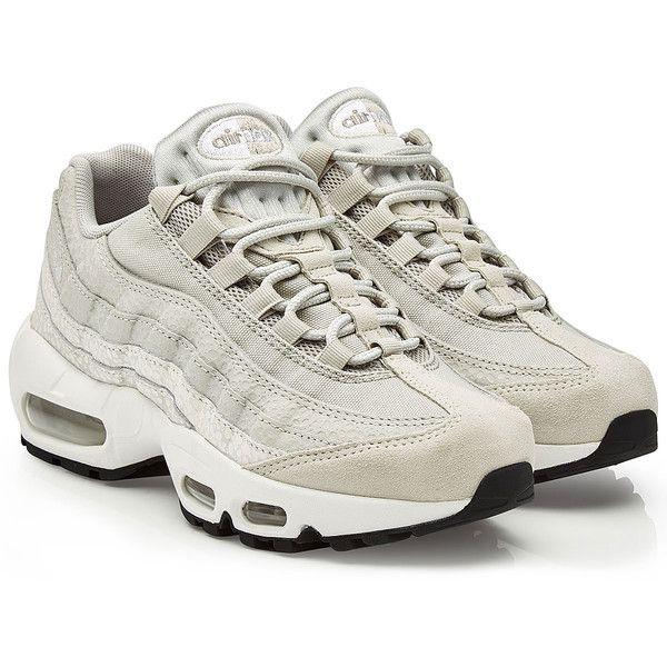 Nike Air Max 95 Premium Sneakers ($205) ❤ liked on Polyvore featuring shoes, sneakers, grey, nike footwear, grey shoes, nike sneakers, nike and nike trainers