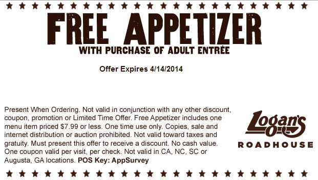 Free Appetizer  Expires 4/14/2014 http://www.pinterest.com/TakeCouponss/logans-roadhouse-coupons/ Logans Roadhouse Coupons