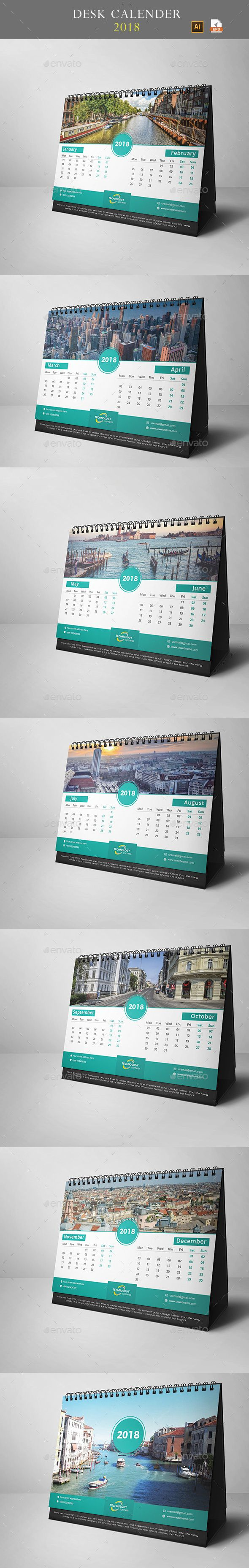 Desk Calendar 2018 - #Calendars #Stationery Download here: https://graphicriver.net/item/desk-calendar-2018/20008480?ref=alena994
