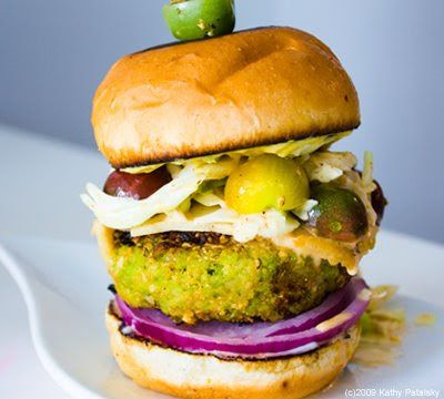 Mean Green Edamame Soy Burger. With Spicy Slaw!