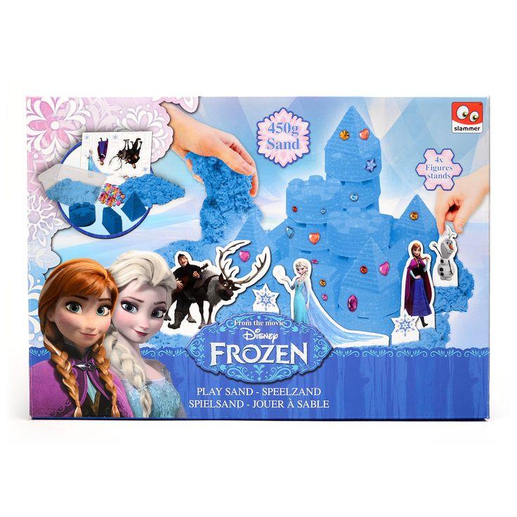 Deze set bestaat uit 450 gram speelzand, 3 zandvormen, 24 diamantjes en 4 kartonnen Prinsessen op een standaard. Inclusief plastic opberg box om het zand in te bewaren. Afmeting: verpakking 33 x 23 cm - Disney Frozen Speelzand Kasteel