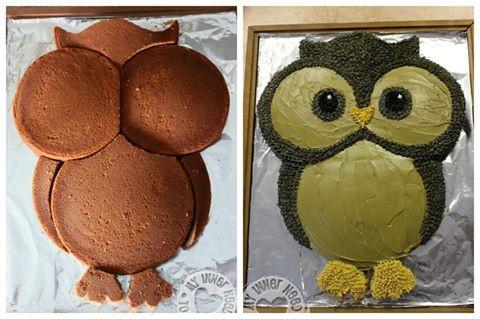 how to make an owl cake with regular round cake tins