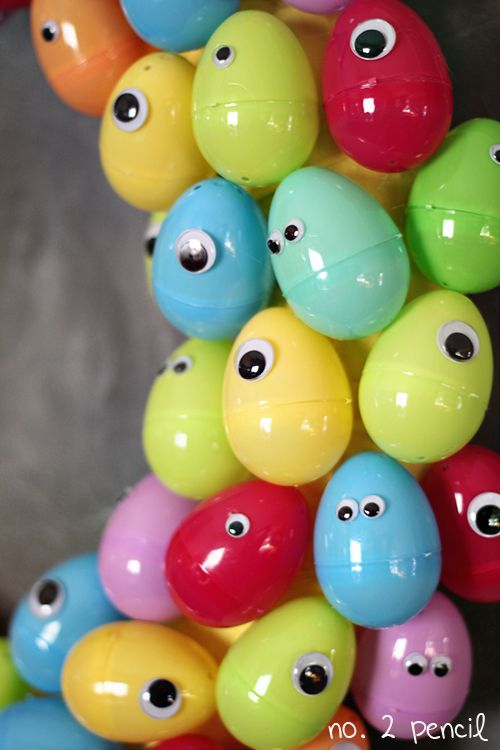 Googly Eyes Easter Egg Wreath via- No. 2 Pencil - Put some silly putty in there or something else fun