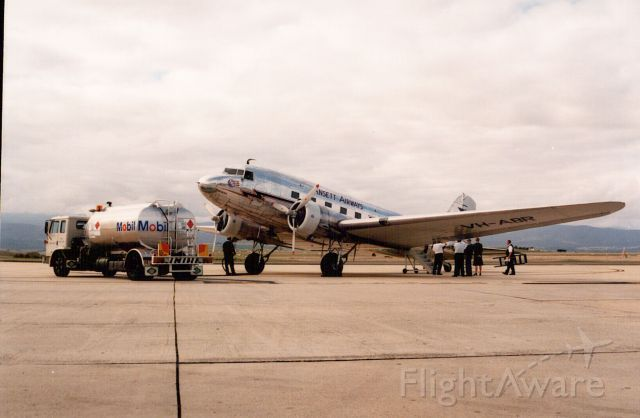 Ansett DC-3 at Launceston in the late 1990's.