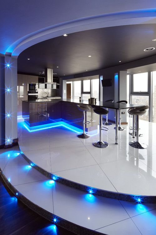 kitchen ultra modern kitchen concepts with beautiful led lighting in blue color choice decorating flower and under kitchen island area