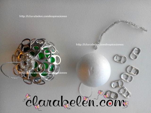 Reciclaje en navidad bola para el rbol con anillas de - Bolas arbol navidad manualidades ...