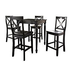 image of Crosley 5-Piece Pub Dining Set with Turned Legs and X-Back Stools
