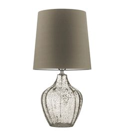 """Hotel Lighting Collection: 24"""" Tall Contemporary Fluted Optic Art Glass Accent Lamp * Clear / Inset Gold Leaf Flecks * 100 Custom Shade Options"""