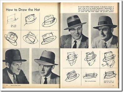 Learn How to Draw Hats - Men wearing 1940's style fedora hat