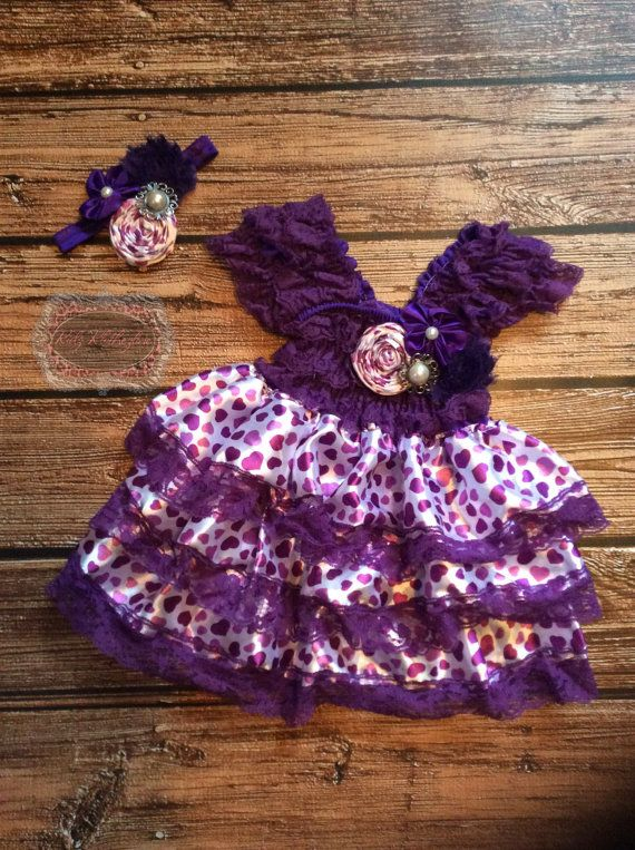 Purple Lace Heart Dress Outfit With matching Headband Cake