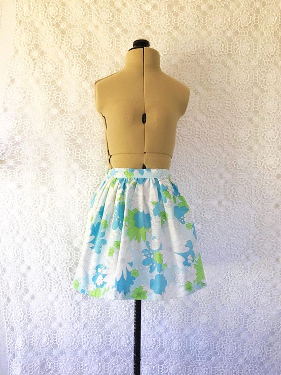 Blue floral skirt elastic waist skirt girls gathered skirt