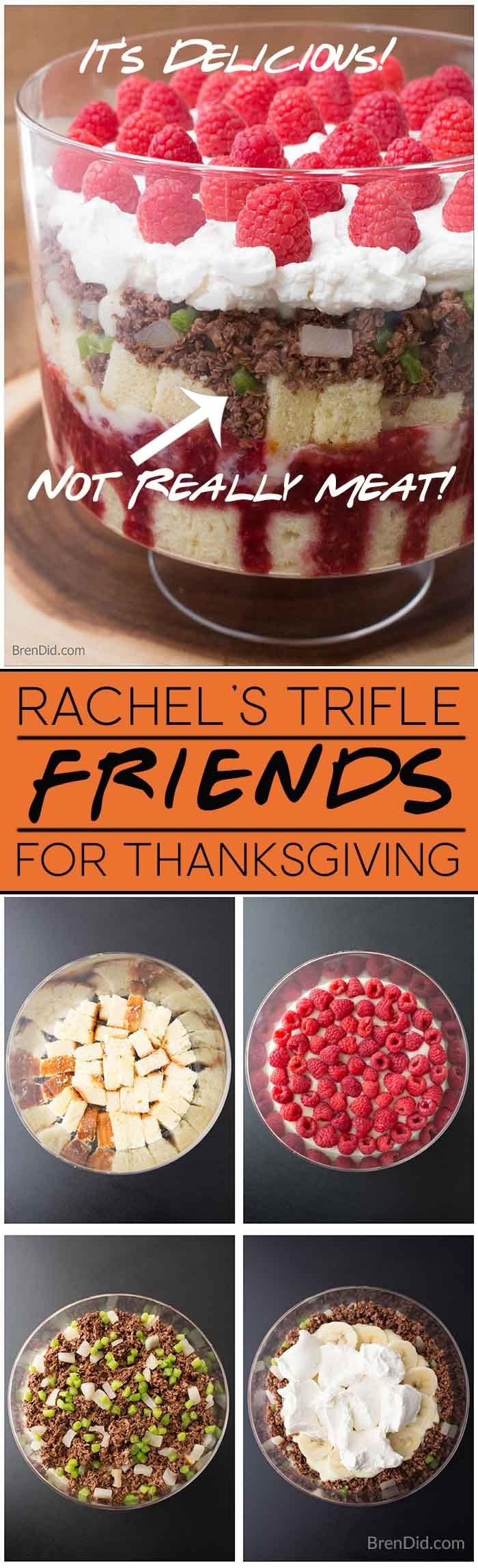 """Make the iconic FriendsThanksgiving trifle with a fake """"beef"""" layer made from coconut and chocolate. This tasty dessert is perfect for Thanksgiving and Friendsgiving! I'll be there for you  #friends #RachelsTrifle #Thaksgiving #friendsgiving via @brendidblog"""