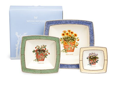 """#wedgwood """"Sarah's Garden"""". These sweet dishes are decorated with simple, elegant features and subtle pastel borders with lovingly hand-rendered botanical motifs #thomasjewellers"""