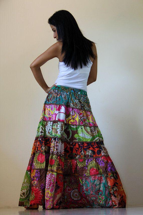 Long Patchwork Maxi skirt ~ Nuichan @ etsy.....love love love!!