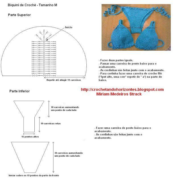 As Receitas de Crochê: Receita padrão de biquíni de crochê