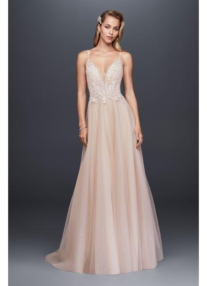 Sheer beaded bodice organza a line wedding dress swg784 for Sheer bodice wedding dress