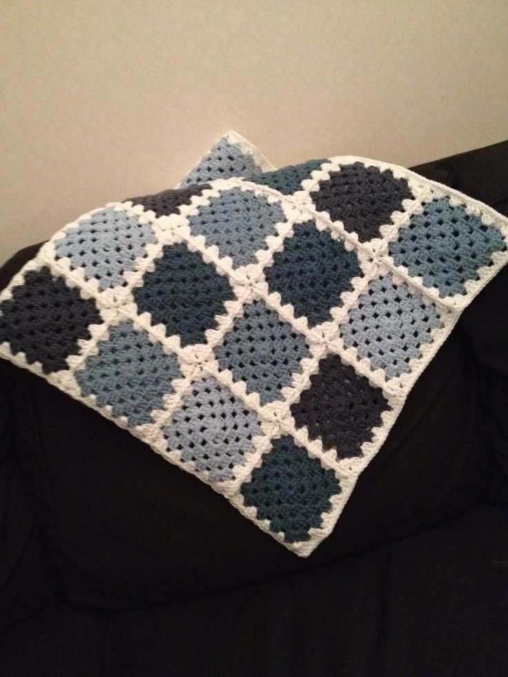 Granny square blanket with recycled jeans yarn