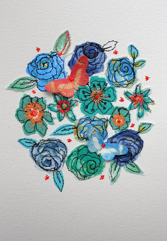 Blue roses Burst  floral stitched original by AmandaWoodDesigns, £25.00