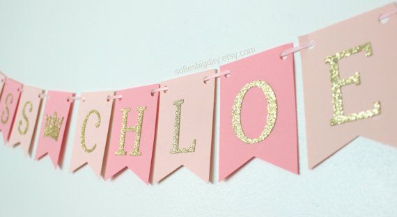 Pink Princess Banner-Blush & Gold Banner Gold by SofiesBigDay