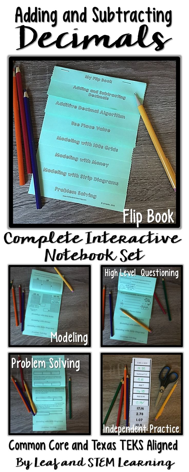 Introduce, practice, and assess decimal addition and subtraction using this interactive flip book and math journal set. Two versions are included to align to the Texas TEKS and Common Core fifth grade math standards.   All pieces are designed to fit perfectly in your students' notebooks or composition books and include a flip book, a practice activity, and a five question, test-prep style formative assessment.  By www.leafandstemlearning.com