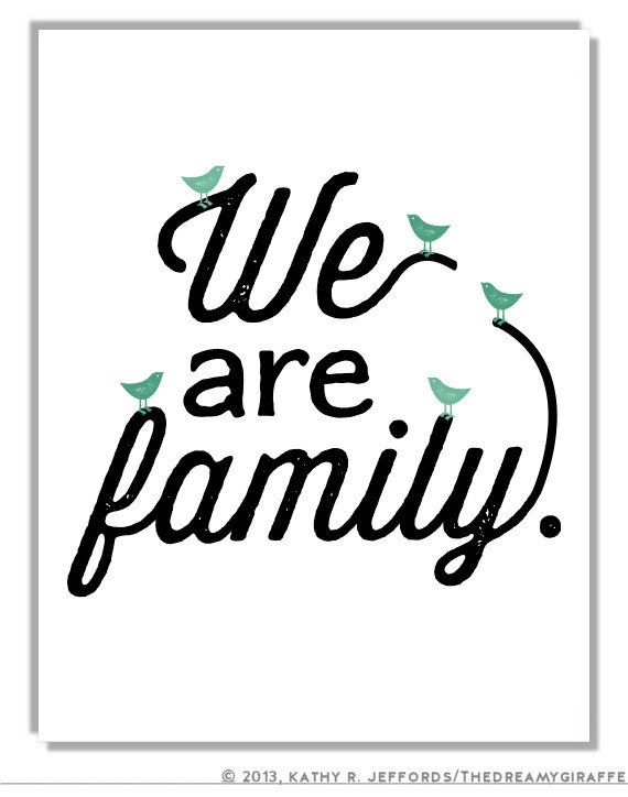 We Are Family Art. Living Room Wall Art. Birds Themed Home Decor. Typographic Print. Personalized Family Quote Artwork. Black & White Art.